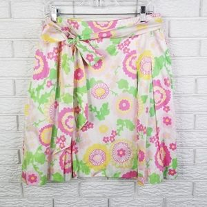 Lilly Pulitzer Pleated A-line Tie Waist Skirt 10